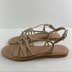 Witchery Linen Slingback Strappy Leather Round Square Toe Sandal Shoes Size 9
